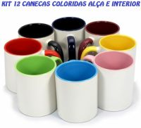 KIT COLOR 12 CANECAS SUBLIMÁTICAS ALÇA E INTERIOR COLORIDA (ROSA,VERDE CLARA,AZUL CLARA,BORDÔ)
