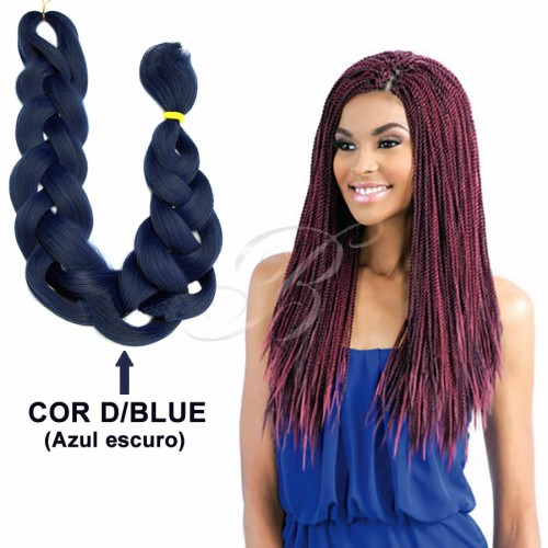 KANEKALON JUMBO Rainhas Braid - Cor D/BLUE (60 cm) - Havana Braid Sleek