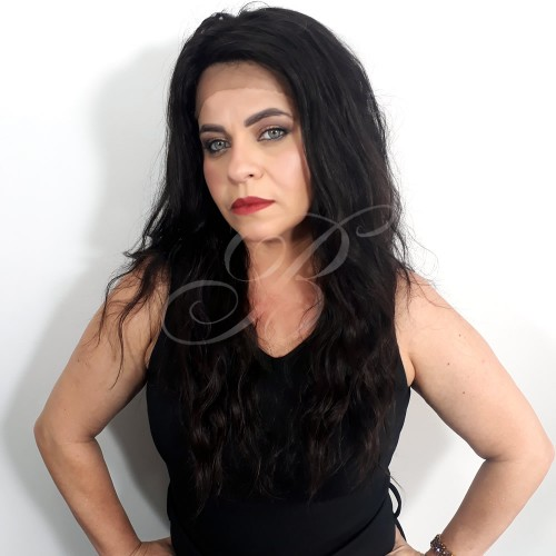 LACE WIG Natural Gabriela cor 1B (60 cm) - Modelo Exclusivo - Bella Hair V