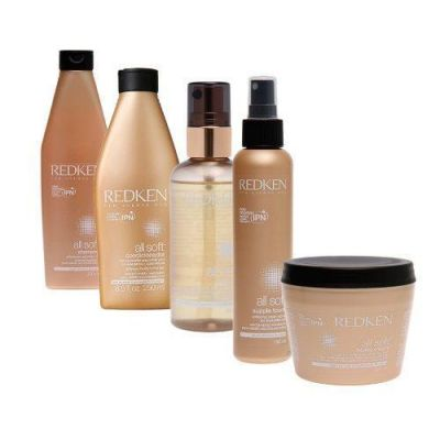 Redken All Soft Full Kit shampoo + condicionador + mascara + óleo + leave-in