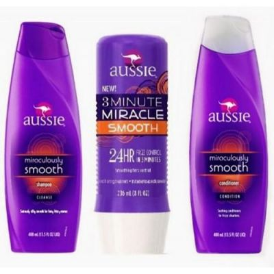 Aussie kit Smooth Shampoo 400ml + Mascara 236ml + Condicionador 400ml