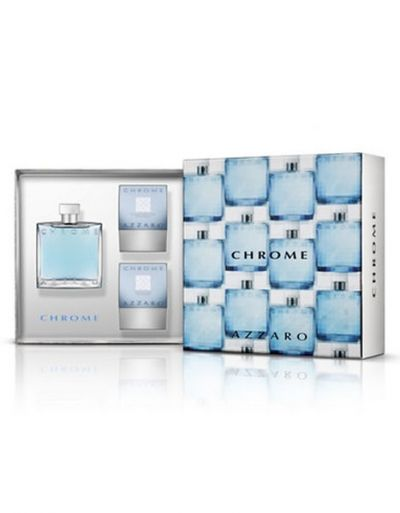 Azzaro Chrome Kit Perfume Masculino Eau de Toilette100ml + After Shave 75ml + Gel Banho 75ml