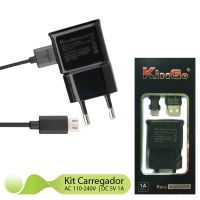 Kit Carregador 2x1 V8 KinGo Compatível para Alcatel Pop 3