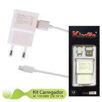 Kit Carregador 2x1 Lightning Kingo Compatível para Iphone 7