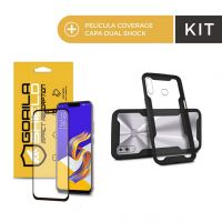 Kit Capa Dual Shock e Película Coverage Color Preta para Zenfone 5 e 5z - Gorila Shield