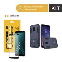 Kit Capa Armor e Película Coverage Color Preta para Galaxy A6 Plus - Gorila Shield