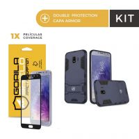 Kit Capa Armor e Película Coverage Color Preta para Galaxy J6 - Gorila Shield