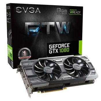 PLACA DE VIDEO EVGA GTX 1080 FTW GAMING ACX 3.0 8GB GDDR5X 256BIT 08G-P4-6286-KR