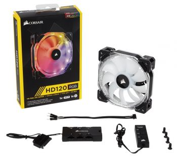 FAN CORSAIR AIR SERIES HD120 LED RGB PWM 120MM HIGH PERFORMANCE COM CONTROLADOR CO-9050066-WW