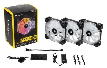 FAN CORSAIR AIR SERIES HD120 LED RGB PWM 120MM HIGH PERFORMANCE EMBALAGEM TRIPLA COM CONTROLADOR CO-9050067-WW