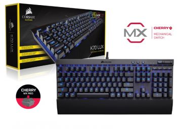 TECLADO CORSAIR K70 LUX AZUL TECLAS CHERRY MX RED CH-9101030-NA