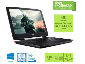 NOTEBOOK ACER CORE I7 7700HQ 16GB 1TB 15.6 FULLHD USB3.1 GTX 1050 TI 4GB WIN10 VX5-591G-78BF
