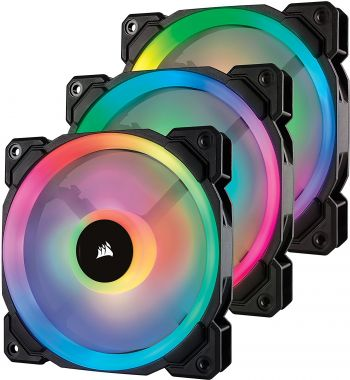 FAN CORSAIR AIR SERIES LL120MM RGB EMBALAGEM TRIPLA COM CONTROLADOR CO-9050072-WW