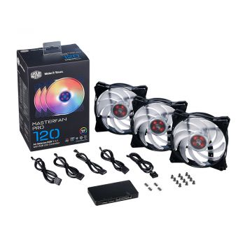 FAN COOLER MASTER MASTER PRO 120 AIR BALANCE RGB KIT COM 3 CONTROLADOR LED RGB MFY-B2DC-133PC-R1