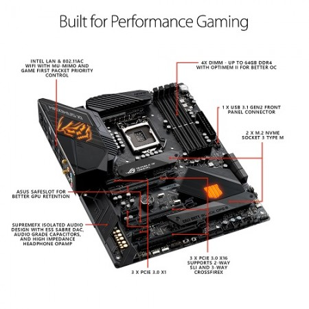 PLACA MAE ASUS Z390 ROG MAXIMUS XI HERO CALL OF DUTY SPECIAL EDITION DDR4 M.2 USB3.1 ATX LGA 1151  - foto principal 1