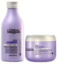 KIT SHAMPOO LOREAL LISS UNLIMITED 250ML + MASCARA LISS ULTIME 200G
