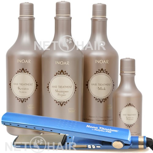 Inoar Hair Treatment kit Cauterização +  Prancha Babyliss Nano Titanium