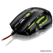Mouse Optico Gamer Performance Led Verde Multilaser