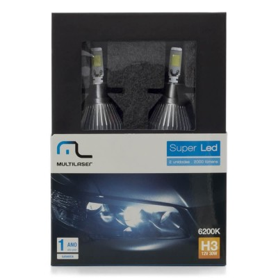 Kit Xenon Super Led H3 12v 30w 6200k - Multilaser Au824  - foto principal 6
