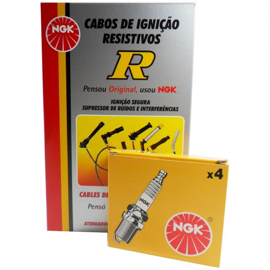 Kit Cabos + Velas NGK Fiat Palio Weekend 1.0 16V Fire Gasolina 2000/