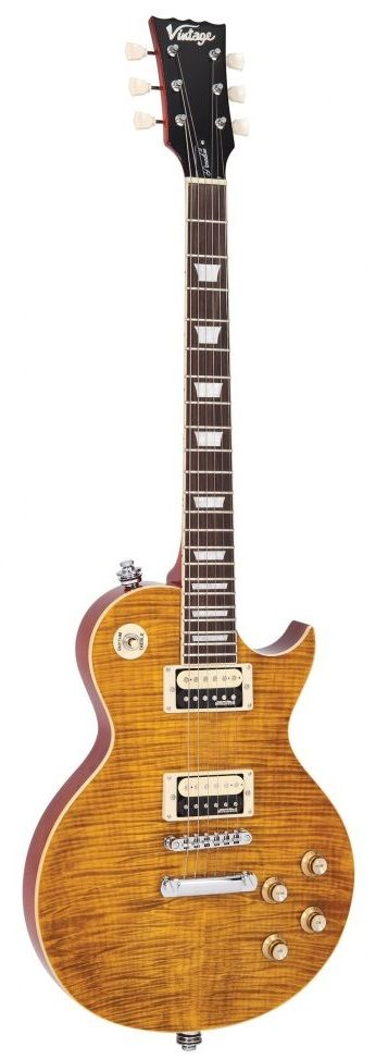 Guitarra Vintage V100 AFD Paradise Flamed Maple Amber