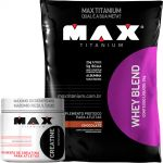 WHEY BLEND 2Kg Refil - Chocolate + Creatina Max Titanium Creatine 300g  - foto 1
