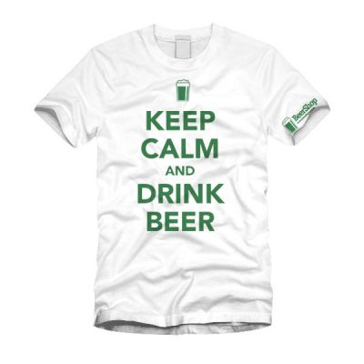 Camiseta Keep Calm and Drink Beer (Branca)