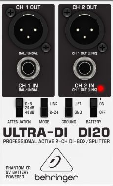 Direct Box Behringer Ultra DI 20 | 2 Canais | Phantom Power