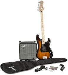 Kit Fender Squier Baixo Precision Bass Affinity Pack | 030 1672 | Amp Fender Rumble 15G | Brown Sunburst
