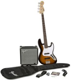 Kit Fender Squier Baixo Jazz Bass Affinity Pack | 030 1676 | Amp Fender Rumble 15G | Brown Sunburst
