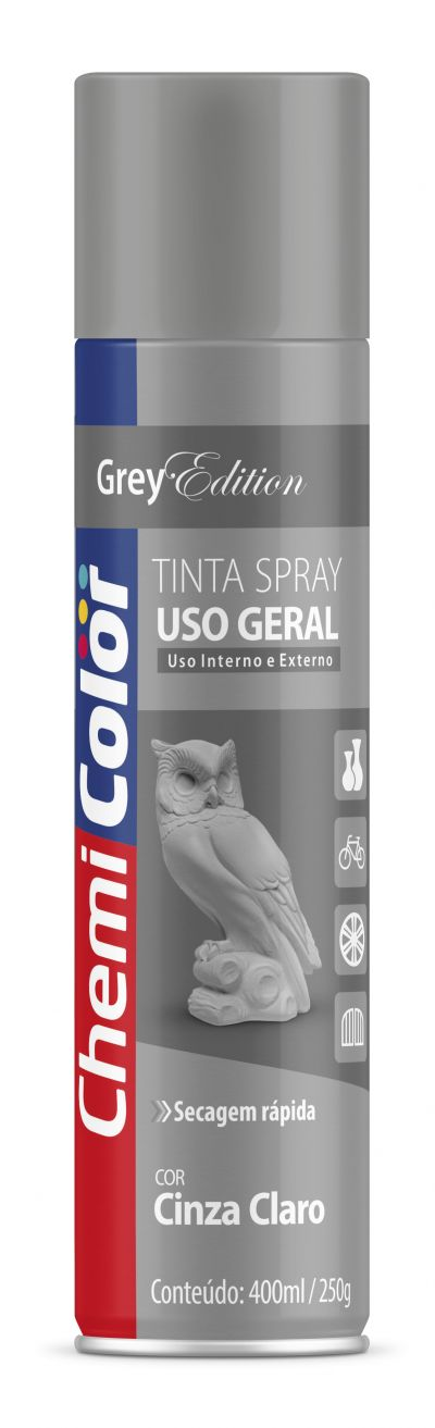Tinta Spray Cinza Claro Placa Uso Geral 400ml - Chemicolor