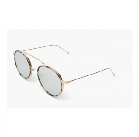 ILLESTEVA WYNWOOD ACE WHITE TORTOISE GOLD WITH SILVER FLAT MIRRORED LENSES