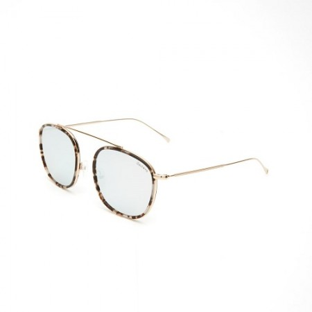 ILLESTEVA MYKONOS ACE WHITE TORTOISE  GOLD WITH SILVER FLAT MIRRORED LENSES