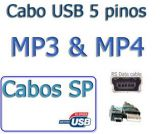 Cabo USB 2.0 A / Mini B - 5 pinos p/ MP3 MP4