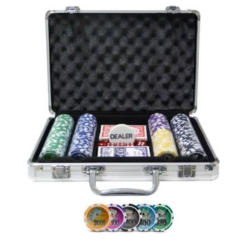 Maleta de Poker Grand Royale Oficial - 200 fichas numeradas 11,5 gramas - 2 deck - Dealer - Poker Set