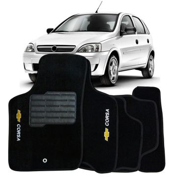 Tapete Carpete Chevrolet Corsa Hatch/Sedan 2002 à 2015 Personalizado Preto Com Logo Bordado