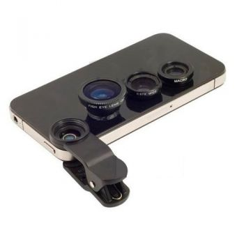 Kit lentes Universal Fish Eye Macro Iphone/ Galaxy/ Outros