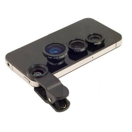 Kit lentes Universal Fish Eye Macro Iphone/ Galaxy/ Outros  - foto principal 1