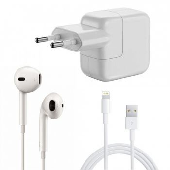 Kit Carregador + Fone EarPod Compatível com Apple Ipad/Ipod/ Iphone 5/5S/5C/6