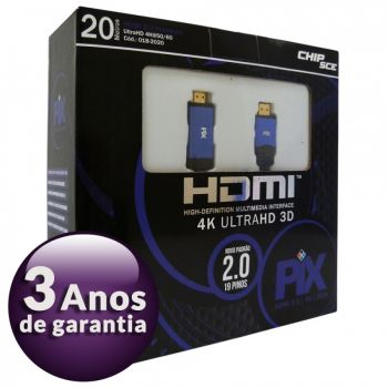 Cabo HDMI 2.0 Premium 4K Ultra HD 3D Chip Sce - 19 Pinos - 20 metros - 018-2020
