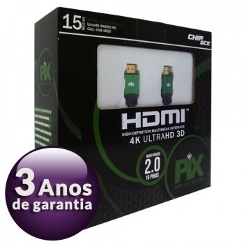Cabo HDMI 2.0 Premium 4K Ultra HD 3D Chip Sce - 19 Pinos - 15 metros - 018-1520