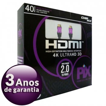 Cabo HDMI 2.0 Premium 4K Ultra HD 3D Chip Sce - 19 Pinos - 40 metros - 018-4120
