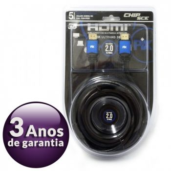 Cabo HDMI 2.0 Premium 4K Ultra HD 3D Chip Sce - 19 Pinos - 5 metros - 018-0520