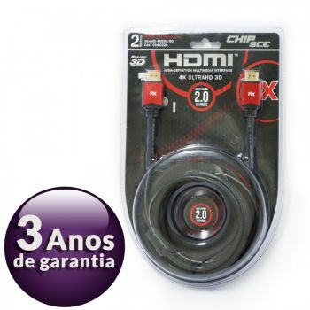 Cabo HDMI 2.0 Premium 4K Ultra HD 3D Chip Sce - 19 Pinos - 2 metros - 018-0220