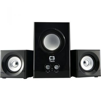 Caixa Multimídia 2.1 com Subwoofer 8W RMS SP-223BS Preto C3 TECH