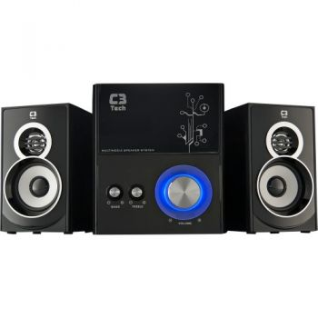 Caixa Multimídia 2.1 com Subwoofer 21W RMS SP-232U Preto C3 TECH