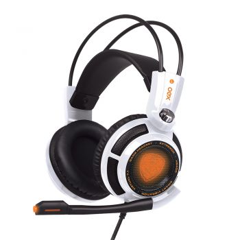 Headset Extremor Gamer OEX HS400 – 7.1 Som Digital – Ajuste de Volume – Iluminado LED – Branco
