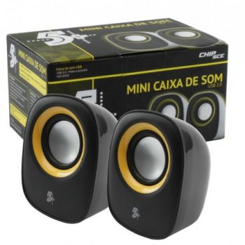 Mini Caixa de Som para Pcs, Notebooks e monitores - USB 2.0 - 3w RMS - Plug and Play - Preto e Amarelo - Chip Sce 015-0023