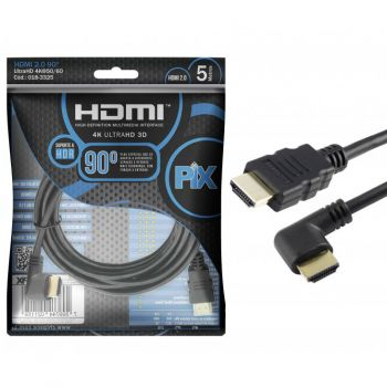 Cabo HDMI 2.0 90° 4K Ultra HD 3D Chip Sce – 19 pinos – 5 metros – 018-3325