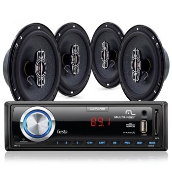 Kit Som Automotivo Multilaser Wave Fiesta Rádio Mp3 Player USB FM AUX SD + 04 Alto Falantes 45W 6'' - Au950
